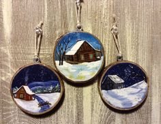 Rustic ornaments Maple Wood Ornaments by AppalachainPainter