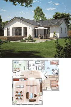 ICON corner bungalow with hipped roof - Dennert solid house Modern House Floor Plans, Sims House Plans, Small House Plans, Modern Bungalow Exterior, Modern Bungalow House, Simple House Design, Modern House Design, House Construction Plan, Bungalow Renovation