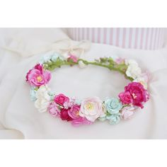 flower crown, pink, floral crown, pink flowers, mint flowers, photo... ($43) ❤ liked on Polyvore featuring accessories, hair accessories, flower hair accessories, pink garland, flower crown, pink hair accessories and lace hair accessories