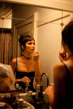 Bella Hadid gets ready for Dior's the Art of Color event.