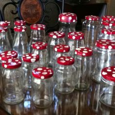fairy party mushroom jars to collect goodies hiding in garden - what a cute idea