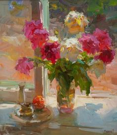 Shabad Alexander p. Abstract Flowers, Watercolor Flowers, Still Life Flowers, Ukrainian Art, Virtual Art, Paintings I Love, Floral Paintings, Still Life Art, Arte Floral