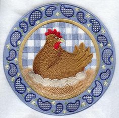Gingham Paisley Rooster and Hen Circle design (A8047) from www.Emblibrary.com