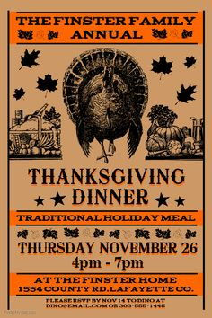 Vintage Thanksgiving Dinner Flyer. Click on the image to customize on PosterMyWall.