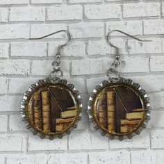 A personal favorite from my Etsy shop https://www.etsy.com/listing/524372277/vintage-book-earrings-bottle-cap