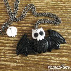 ~rapscalliondesign~ Skull Bat Polymer Clay Necklace by rapscalliondesign on Etsy, $20.54