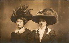 Beautiful real photo postcard featuring two woman in edwardian hats