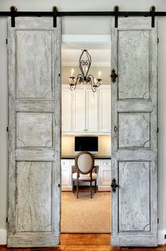 Looking for new trending french door ideas? Find 100 pictures of the very best french door ideas from top designers. Traditional Home Offices, Traditional House, Traditional Kitchens, Home Office Design, House Design, Library Design, Image Deco, Interior Sliding Barn Doors, Mirrored Barn Doors