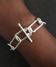 Statement Bracelet Sterling Silver Geometric Chain Bracelet #GoldJewelleryChunky #SterlingSilverClasps