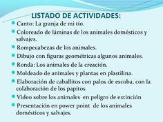 Resultado de imagen para planificacion de los animales para preescolar