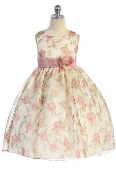 Dust Rose Floral Promted Sleeveless Fower Girl Dress K199-DR K199-DR $38.95 on www.GirlsDressLine.Com  Chandler