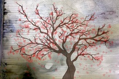 """Cherry Tree"" Mixed Media Print © Maia Ashkenazi"