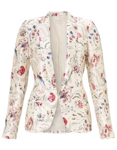 Our lustrous Portia print jacket sees your classic blazer infused with an exclusive bird and floral design. Fully lined, with long lapels, covered-button cuffs… Look Blazer, Casual Blazer, Blazer Outfits, Blazer Fashion, Fashion Outfits, Floral Blazer, Floral Jacket, Jacket Dress, Blazer Jacket