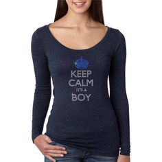 Bling Rhinestone Keep Calm It's a Boy Fitted Next Level Woman Tri... ($29) ❤ liked on Polyvore featuring tops, grey, t-shirts, women's clothing, gray top, grey long sleeve shirt, fitted long sleeve shirts, gray shirt and stitch shirt