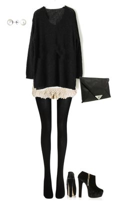 """Oversized Sweater & Lace Shorts w/Tights"" by shelovesmakeup on Polyvore"