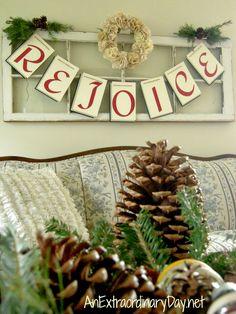 DIY Rejoice Banner : Vintage Window Art for Christmas