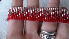 Could do similar to a music balance track? Loom beaded bracelet by Suusjabeads on Etsy Loom Bracelet Patterns, Seed Bead Patterns, Bead Loom Bracelets, Bracelet Crafts, Beading Patterns, Beaded Earrings, Beaded Jewelry, Loom Beading, Bead Weaving