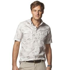 NWT Mens CHAPS Fish Printed Outdoor Casual Button Down Short Sleeve Shirt Size S #Chaps #ButtonFront
