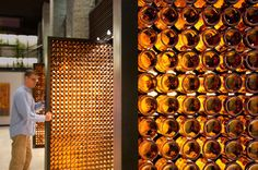 Beer Bottle Partition : recycled materials+ translucent + feature wall