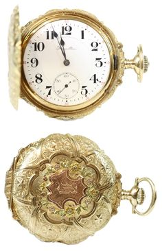 "HAMILTON pocket watch, hunter, United States around 1910. Body GG RG 14K (SD GG 14K)  with fine, asc. Ornaments. On the ground, esp m. one old mine cut diamond. Work-No. 1274049th Cal. 993rd White enamel dial m. arab. Numerals and subsidiary seconds, signed. ""Hamilton"". * Leg. 585/000 * Weight 110.4 g - Price: 1.950 EUR"