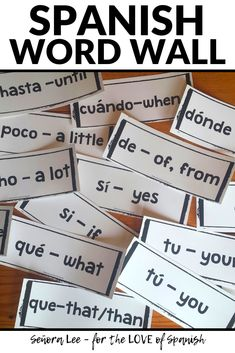 Build Spanish vocabulary quickly! Post 60 Spanish high frequency words on your bulletin board or use with distance learning lessons to instantly support students on activities. Great Spanish classroom decor while providing comprehensible input. Students of all ages will refer to these vocabulary words again & again! Simply post to your bulletin board for a meaningful visual resource. Large fonts are easy to read from the back of the room or while watching class online. #spanish… Spanish Word Wall, Spanish Words, How To Speak Spanish, Spanish 1, Spanish Sayings, Spanish Vocabulary, Vocabulary Words, Vocabulary Games, Middle School Spanish