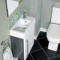 Space Saving Toilet Design for Small Bathroom - Home to Z Cloakroom Toilet Downstairs Loo, Cloakroom Sink, Cloakroom Ideas, Small Shower Room, Small Toilet Room, Guest Toilet, Tiny Bathrooms, Ensuite Bathrooms, Small Bathroom Sinks