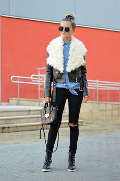 Choineczka, Fur collar,biker jacket,ripped jeans,zerouv sunglasses,street style,fashion,moda,blogger