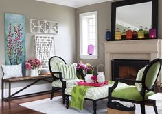 Love the lanterns on the mantle and painting on side table/bench.