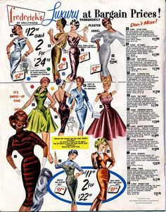 """Frederick's of Hollywood catalog, 1959 // I'd like dress H (""""Peasant's Delight""""), please!"""
