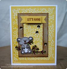 card designed by Jenn Shurkus with @sweetstampshop stamps #handmadecard #koala #sequins