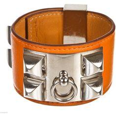 Pre-owned Hermes Orange Swift Leather Collier de Chien CDC Bracelet  ( 1,195) ❤ 335797c3ccc