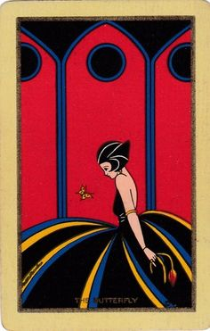 "Swap Playing Card Classic Art Deco Vintage UK NN ""The Butterfly"" Lovely Lady 