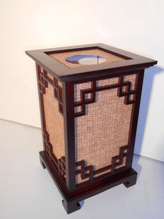 Wooden Balinese Styled Oriental Table Lamp with a Woven Rattan Screen and Walnut finished Asian Lamps, Oriental Design, Walnut Finish, Balinese, Rattan, Floor Lamp, Lanterns, Porcelain, It Is Finished