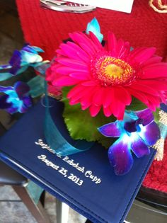 Floral embellished bible that the flower girl carried 7-25