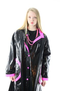 Vinyl Raincoat Slicker Rain Coat Jacket PVC Waterproof Black Pink Womens Fall Spring Fashion Wippette Large L Vinyl Raincoat, Pvc Raincoat, Yellow Raincoat, Hooded Raincoat, Rain Fashion, Spring Fashion, Women's Fashion, Vinyl Skirt, Columbia
