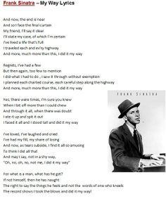 Frank Sinatra - My Way My Way Lyrics, Great Song Lyrics, Lyrics To Live By, Songs To Sing, Music Lyrics, Beatles Quotes, Song Quotes, Music Quotes, Frank Sinatra Lyrics