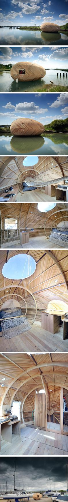 Exbury egg is artist Stephen Turner's temporary work space.