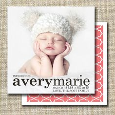 birth announcement  classic meets modern by westwillow on Etsy, $15.00