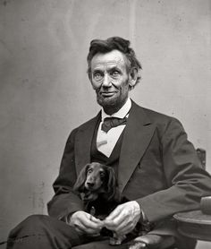 Dachshund owned and operated ...bet that doxie helped Lincoln run the country!!