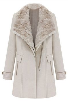ROMWE | Two-piece Fake Fur Collar Cream Woolen Coat, The Latest Street Fashion