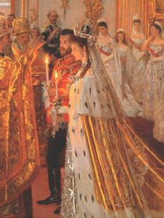 The wedding of Tsar Nicholas II and  Princess Alix of Hesse-Darmstadt - 1894, doing research on her, this is an amazing painting~