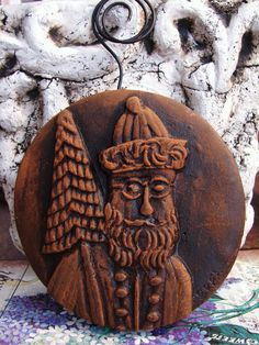 1860's FATHER CHRISTMAS in Blackened Beeswax by BlackRockFolkArt, $23.00 love this