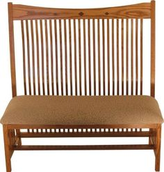 Amish Arts & Crafts Mission Bench with Walnut Inlays Exquisite mission style bench. Check out the walnut inlays. Strong and solid support handcrafted to please. Choice of wood, finish and upholstery. Picture this beauty in your foyer! Tree Furniture, Arts And Crafts Furniture, Amish Furniture, Entryway Furniture, Furniture Making, Mission Style Furniture, Red Oak Wood, Furniture Collection, Home Remodeling