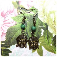 Beautiful Beaded Buddha Earrings with Green Turquoise Beads on Etsy, $5.00 AUD