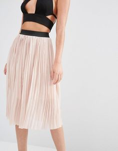 New Look | New Look Pleated Tulle Midi Skirt at ASOS
