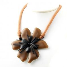Vetrofuso by Daniela Poletti necklace brown Hibiscus flower
