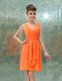 #Wishesbridal Orange V Neck Knee Length Chiffon A Line Bridesmaid Dress B1wb0002