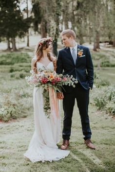 wedding portrait - photo by Jenna Brianne Photography and Sarah Brookhart Photography http://ruffledblog.com/colorful-greenhouse-wedding-ideas