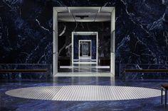 OMA AMO prada the infinite palace milan men's fashion week designboom doors in doors, marble and aluminium pannels, rounded circulation