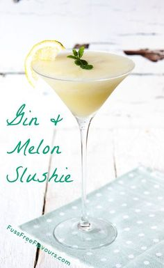 A delicious refreshing cocktail made by blending gin and frozen melon - sounds delicious, tastes delicious!
